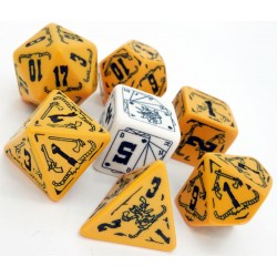 Deadlands Dice Set de 7 Dés (Orange and Black)