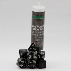 16mm Role Playing Dice Set - Black (7 Dice)