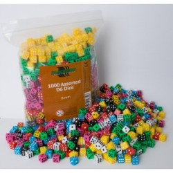 Lot de 25 Minis Dés à 6 Faces - 8mm Couleur mixées