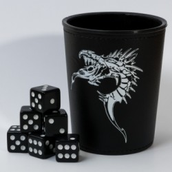 Dice Cup Dragon Noir + 6 Dés