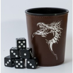 Dice Cup Dragon Marron + 6 Dés