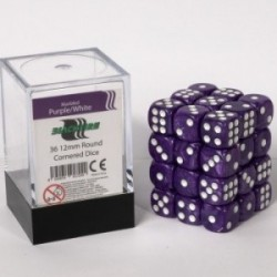 Pack de 36 Dés 12 mm à 6 Faces - Blackfire - Marbled Purple/White