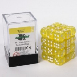 Pack de 36 Dés 12 mm à 6 Faces - Blackfire - Transparent Yellow