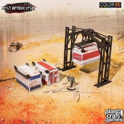 Post Apocalypse ColorED maquette pour jeu de figurines 28 mm Crane & Containers