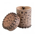 Skull Beige Leather Dice Cup - Q Workshop