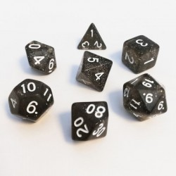 Lots de Dés - 16mm - Role Playing Dice Set - Brillant Noir