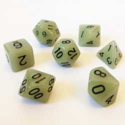 Lots de Dés - 16mm - Role Playing Dice Set - Brille dans la Nuit Gris