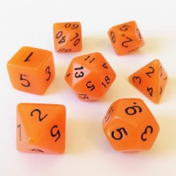 Lots de Dés - 16mm - Role Playing Dice Set - Brille dans la Nuit Orange