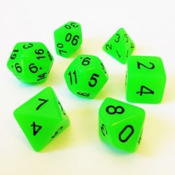 Lots de Dés - 16mm - Role Playing Dice Set - Brille dans la Nuit Vert