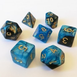 Lots de Dés - 16mm - Role Playing Dice Set - Double Couleur Bleu / Noir