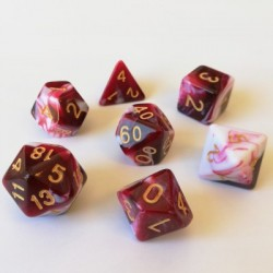 Divers - Dés - Lots de Dés - 16mm - Role Playing Dice Set - Double Couleur Rouge / Blanc