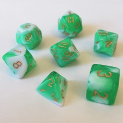 Divers - Dés - Lots de Dés - 16mm - Role Playing Dice Set - Double Couleur Vert / Blanc