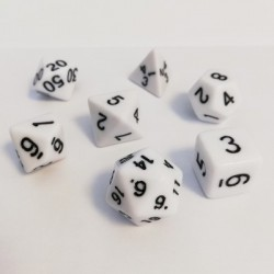 16mm Role Playing Dice Set - White (7 Dice)