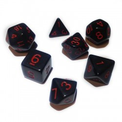 Blackfire Dice - 16mm Role Playing Dice Set - Black with Red numbers (7 Dice)