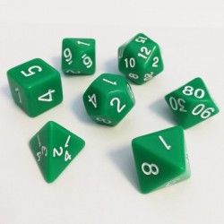 16mm Role Playing Dice Set - Green (7 Dice)
