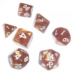 Divers - Dés - Lots de Dés - 16mm - Role Playing Dice Set - Perle Marron