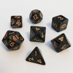 Divers - Dés - Lots de Dés - 16mm - Role Playing Dice Set - Perle Noir