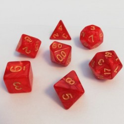 Divers - Dés - Lots de Dés - 16mm - Role Playing Dice Set - Perle Rouge