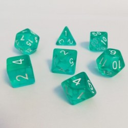 Divers - Dés - Lots de Dés - 16mm - Role Playing Dice Set - Transparent Emeraude