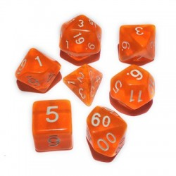 Blackfire Dice - 16mm Role Playing Dice Set - Crystal Orange (7 Dice)