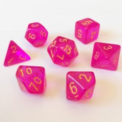 Divers - Dés - Lots de Dés - 16mm - Role Playing Dice Set - Transparent Rose