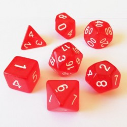 Blackfire Dice - 16mm Role Playing Dice Set - Crystal Red (7 Dice)
