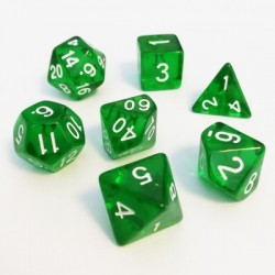Divers - Dés - Lots de Dés - 16mm - Role Playing Dice Set - Transparent Vert