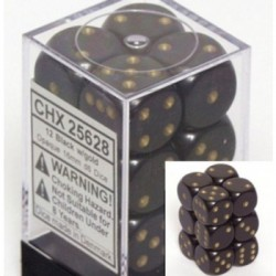 Lot de 12 Dés D6 - Noir/Or- Chessex