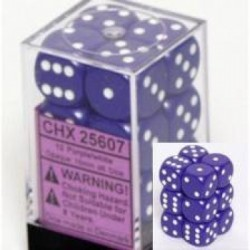 Lot de 12 Dés D6 - Violet/Blanc - Chessex