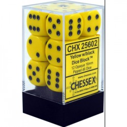Lot de 12 Dés D6 - Jaune/Noir - Chessex