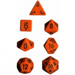 Set de 7 dés Polyhédrale - Orange/Noir - Chessex