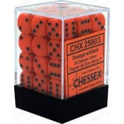 Chessex Set de 36 dés 6 Opaque (12mm) Orange /Noir