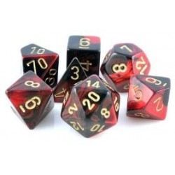 Chessex Set de 7 dés Gemini Noir-Rouge /Or