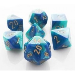 Chessex Set de 7 dés Gemini Bleu-Sarcelle /Or