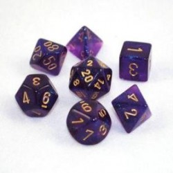 Chessex Set de 7 dés Borealis Violet Royal /Or