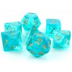 Chessex Set de 7 dés Borealis Sarcelle /Or